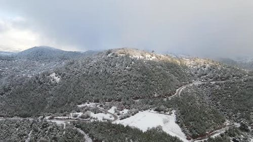 Winter Forest High Mountains Aerial View Snowy