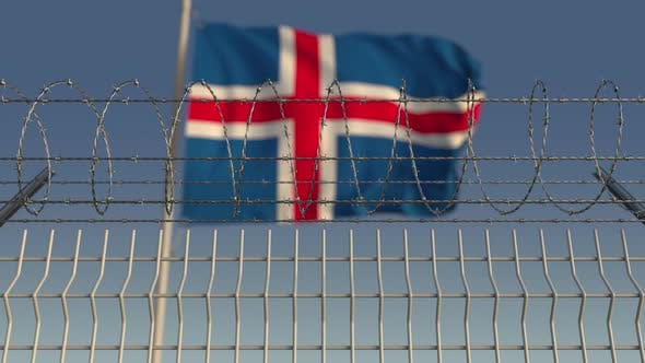 Thumbnail for Barbed Wire Against Waving Flag of Iceland