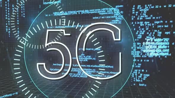 5G written in the middle of a futuristic circles and program codes