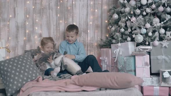 Adorable Brother and Sister Have Fun Playing with Soft Toys