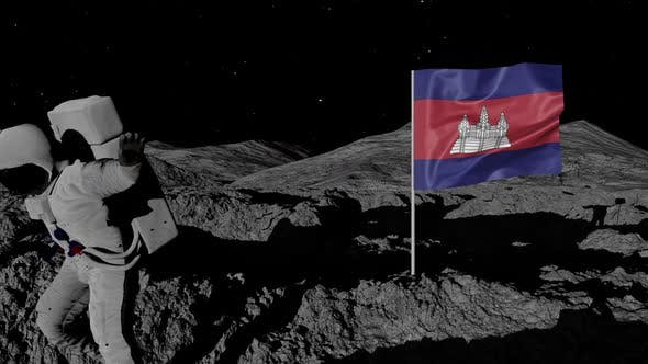 Thumbnail for Astronaut Planting Cambodia Flag on the Moon