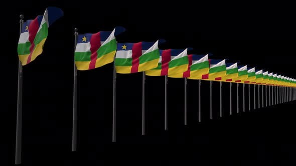 Row Of Central African Republic  Flags With Alpha 4K