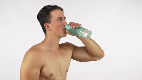 Athletic Happy Healthy Man Smiling, Drinking Water After Gym 1080p