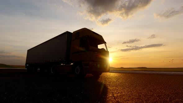 Thumbnail for Truck Driving on Sunset View