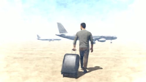 Passenger Moving Towards the Plane with Suitcase