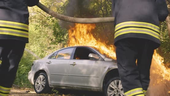 Thumbnail for Anonymous Firemen Extinguishing Fire on Car Near Trees