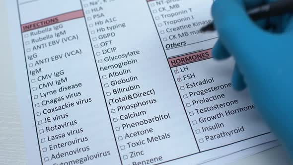 Thumbnail for Sex Hormone Test, Doctor Checking Name in Lab Blank, Showing Blood Sample