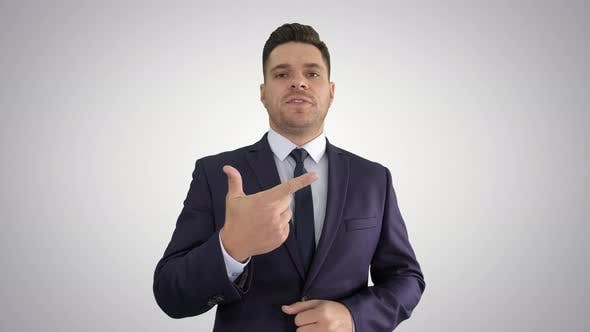 Thumbnail for Businessman Manager Giving Short Business Tips Training on Gradient Background.