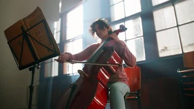Playing Cello At Music School