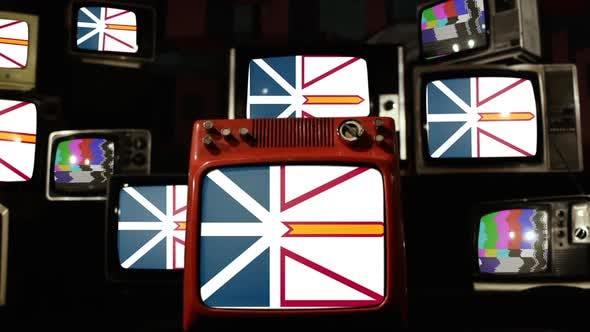 Thumbnail for Flag of Newfoundland and Labrador, Canada, and Retro TVs