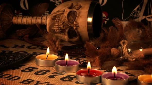 Thumbnail for Skull And Candles On Ouija Spirit Board
