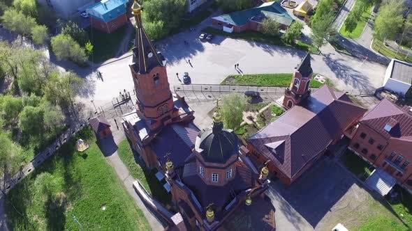 Great Church Shot From the Bird's Eye View in Summer Sunny Day