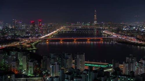 Night Seoul of Illumination Bridge Korea Cityscape