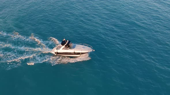 Thumbnail for Aerial View. Luxury Motorboat in Sea.