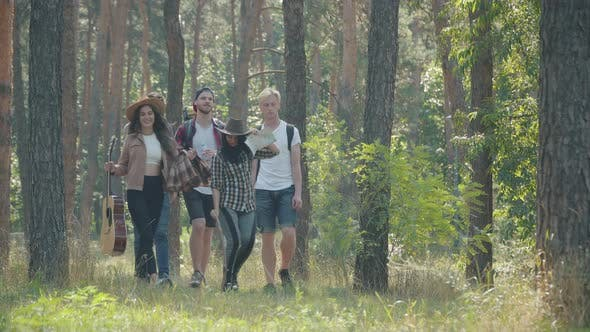 Thumbnail for Wide Shot of Positive Backpackers Walking in Sunrays in Summer Forest. Happy Relaxed Young Men and