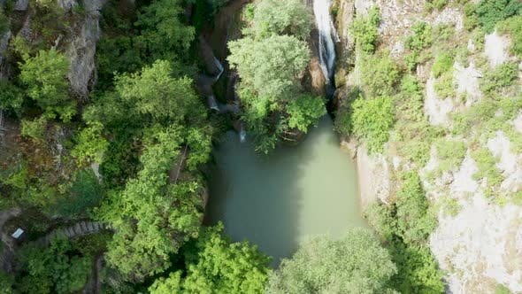Thumbnail for Above Shot of Amazing Waterfall in the Mountains