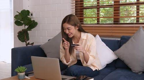 Asian Girl Shopping Online