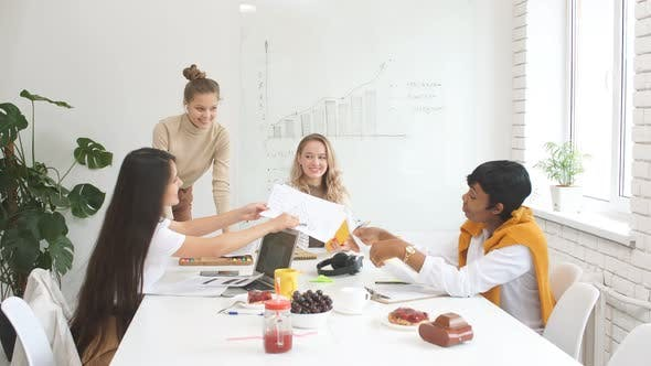Diverse Female Coworking in White Modern Office