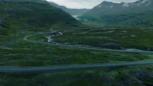 Thumbnail for Drone Shot of Epic Winding Road in Iceland Fjord