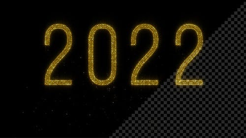 Year 2022 - Shiny Golden Glitter Text on Black BG - 4K
