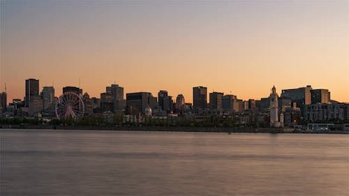 Skyline from Day to Night as seen from the Jean Drapeau park in Montreal