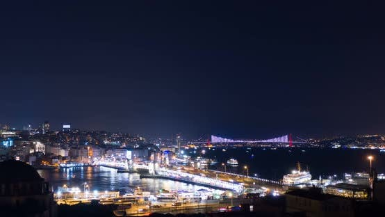 Thumbnail for Aerial Hyperlapse Istanbul Galata And Bosphorus Night