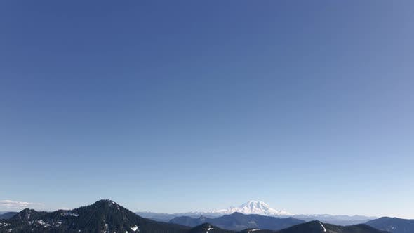 Thumbnail for Blue Sky Above Mt Rainier Nature Background With Graphic Title Space