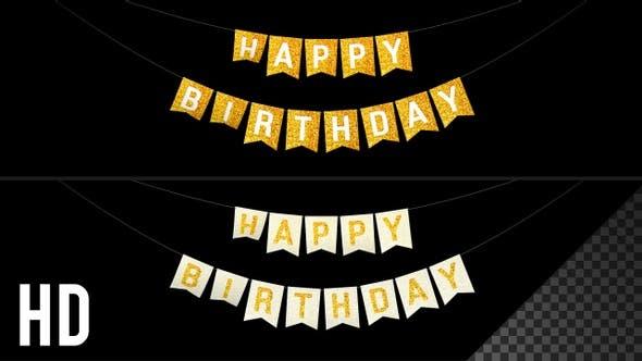 Happy Birthday Bunting Flags Golden HD