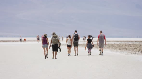 Thumbnail for People walking in the Badwater Basin