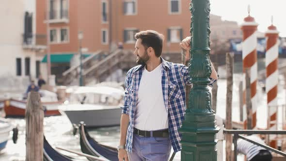 Cover Image for Handsome Tourist Man Travel in Venice, Italy