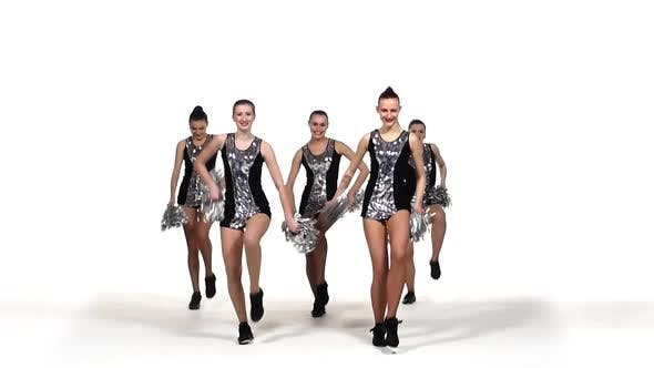 Thumbnail for Beautiful Dancing Girls: Cheerleading, Pom-poms in Hand, Smile, Slow Motion