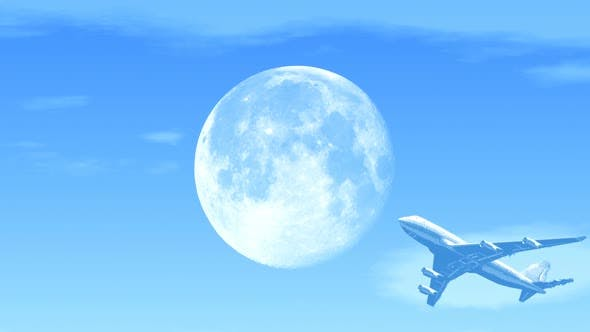 Thumbnail for Passenger Airplane Flying Over Moon in Afternoon