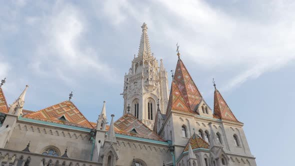 Thumbnail for Beautiful Matthias Church tower on Buda side of Budapest 4K 2160p UltraHD footage  - Matyas-templom