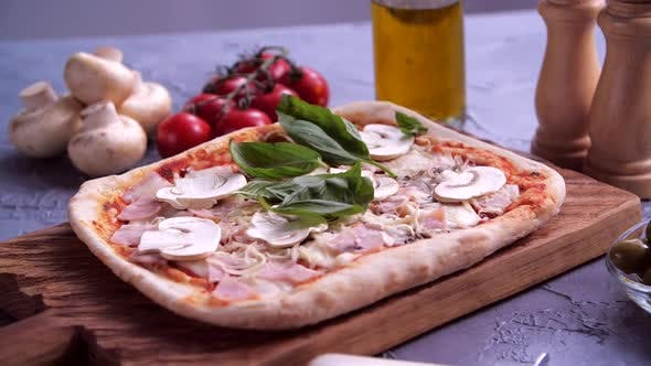 Thumbnail for Basil Leaves Falling Delicious on Pizza
