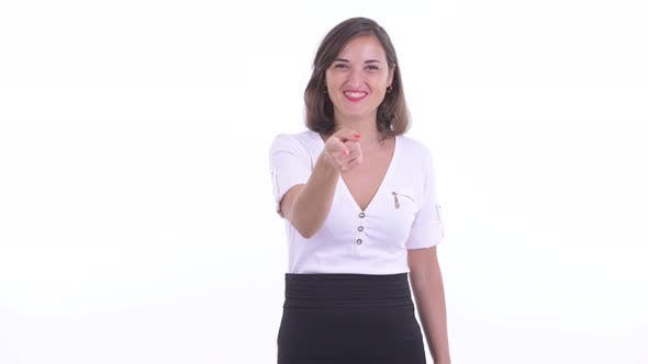 Thumbnail for Happy Beautiful Businesswoman Laughing and Pointing at Camera