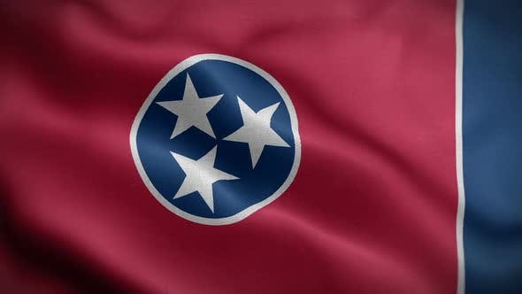 Tennessee State Flag Blowing In Wind