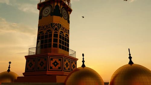 Gold Plated Mosque Minaret and Domes
