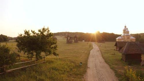Rural Village Evening Landscape