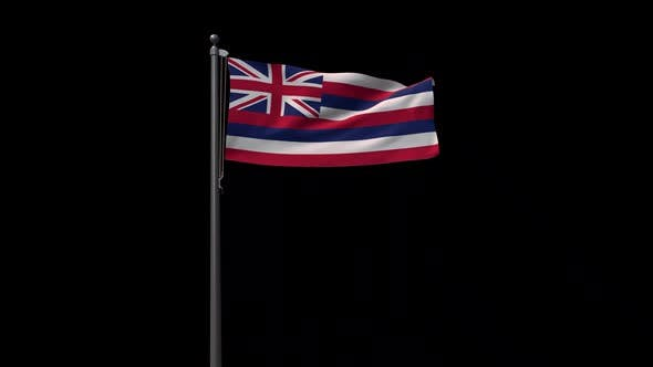 Hawaii State Flag, 2K Prores 4444 Footage With Alpha