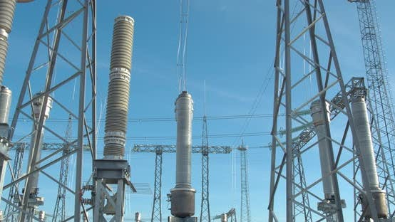 Huge High Voltage Tower with Power Lines at the Wind Power Plant,