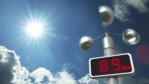 Anemometer Displays 80 Mph Wind Speed