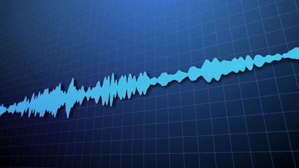 Blue streak of audio spectrum with reflection.