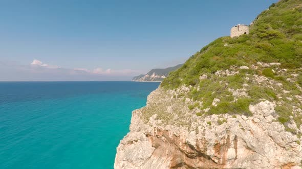 Thumbnail for Aerial view of Lefkada island in the Mediterrean in summer, Greece.