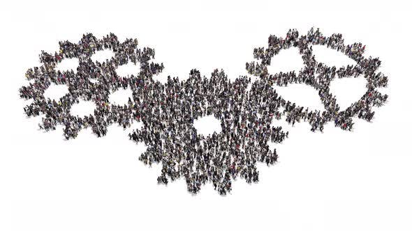 People Gather And Form A Moving Cogwheel