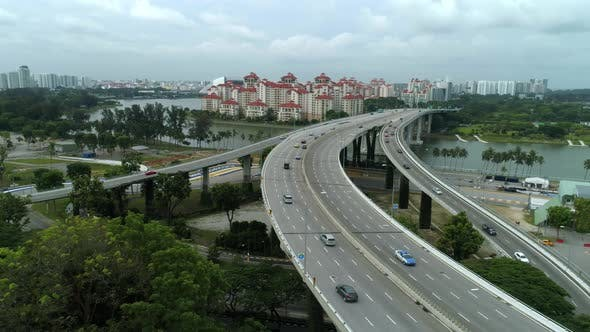 Singapore Aerial View On Highway