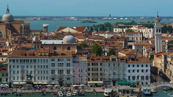 Cover Image for Wide Panorama of Ancient Architecture in Venice, Tourism and Attractions, Italy