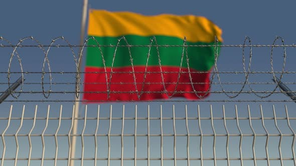 Thumbnail for Waving Flag of Lithuania Behind Barbed Wire Fence