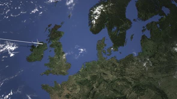 Thumbnail for Commercial Airplane Flying To Copenhagen Denmark