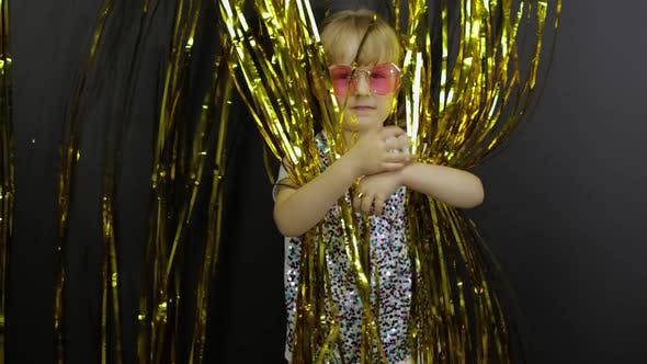 Thumbnail for Happy Child Dancing, Playing, Fooling Around in Shiny Foil Fringe Golden Curtain. Little Blonde Kid
