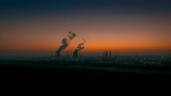 Thumbnail for Aerial View Oil Refinery At Sunset